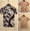 2015 summer Fashion women/men galaxy shibe doge print short sleeve novely animal 3d t shirt much doge funny 3d top plus size