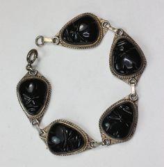 Black Glass Face Mask Bracelet Sterling Links by PastSplendors