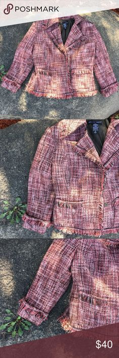Beautiful New York & Company Tweed Jacket💕🍂 🍂Beautiful New & York Company Tweed Jacket, has a Gorgeous Brown and Melon color combination and fringe collar and sleeves. Has two-button clasps for easy closure! Perfect for the Fall season! Don't let this get away! Comes from a smoke-free home:)🍂👜💕 New York & Company Jackets & Coats Blazers