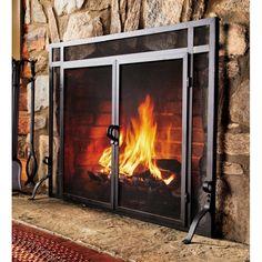 Rustic Fireplace Screens, Glass Fireplace Screen, Stone Fireplace Surround, Craftsman Fireplace, Fireplace Doors, Custom Fireplace, Rustic Fireplaces, Flat Stone, Traditional Fireplace