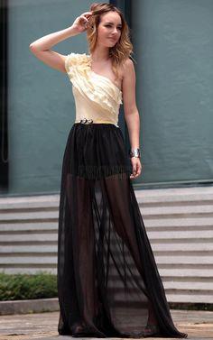 Elegant A-line One-shoulder Floor-length Prom Party Dress