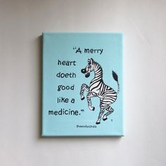 Whimsical Zebra Painting with a Bible Verse!  Adorable for a Animal Theme Nursery!