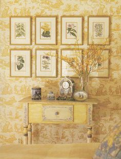25 Creative Ways To Use Wallpaper French Decor, French Country Decorating, Country French, Beautiful Home Gardens, Beautiful Homes, Honeysuckle Cottage, Toile Wallpaper, Yellow Cottage, Mellow Yellow