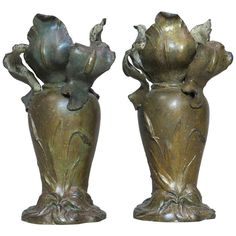 Pair of Art Nouveau Vases by Van de Voorde - Belgian, 1910s | From a unique collection of antique and modern vases at http://www.1stdibs.com/furniture/more-furniture-collectibles/vases/