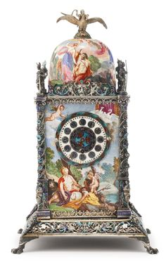 An Austrian silver and enamel tower clock, Vienna, late century Mantel Clocks, Old Clocks, Antique Clocks, Vintage Clocks, Unusual Clocks, Antique Watches, Novelty Items, Telling Time, Vienna