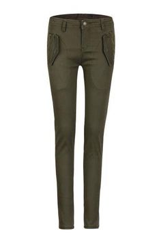Skinny Trousers in Army Green - US$19.95 -YOINS