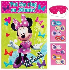 Minnie Mouse Party Game [Toy] [Toy] by Amscan. $12.99. Package includes 1 plastic game board measuring 37 1/2in x 24 1/2in, 2 sticker sheets with 8 stickers total and 1 blindfold.. Blindfold each little Disney dude or darling and have them take turns trying to pin the ring sticker on Minnie's hand.