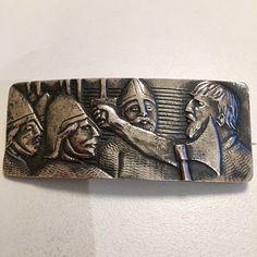Gustav Gaudernack design for own workshop. Silver brooch with motif from viking saga. Silver Brooch, Saga, Vikings, Cuff Bracelets, Workshop, Models, Jewelry, Design, Role Models