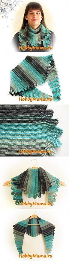 Вязание спицами: Шарф-бактус с ажурной каймой. Описание. Схема | HobbyMama