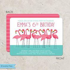 Flamingo Invitation, pink flamingo party, pink flamingo invite - Pool Party Invitation on Etsy, $20.00