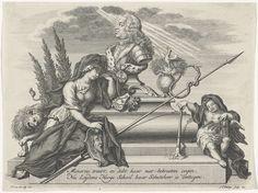 Jan Caspar Philips   Allegorie op de dood prins Willem IV, 1751, Jan Caspar Philips, 1751 - 1752   Allegorie op het overlijden van stadhouder Willem IV op 22 oktober 1751. Buste van de prins op een lijkkist beschenen door het goddelijk licht en beweend door Minerva en een putto met zandloper die een fakkel dooft. Het onderschrift vermeldt de rol van de prins als beschermheer van de Hoge School van Leiden.
