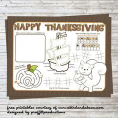 2014 Free Printable Placemat for the Kids in Thanksgiving - Bear, crafts Project, elementary