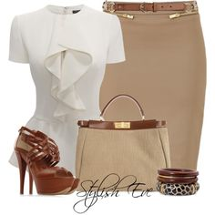 "If the shirt didn't have that lower ""peplum"" ruffle I'd like it more. ""Alaa."" by stylisheve on Polyvore"