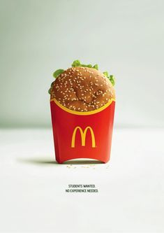 Mcdonald's are looking for people who are earger to learn rather than having some experience. Mcdonald's recruitment strategy is quite different than . Brand Campaign, Advertising Campaign, Advertising Poster, Creative Advertising, Advertising Design, Product Advertising, Advertising Ideas, Famous Ads, Famous Advertisements