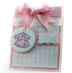 Amazing Paper Grace feminine take on Houndstooth #Cuttlebug embossing folder - baby girl card #cricut