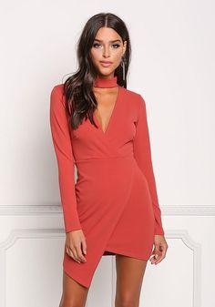 Coral Choker Plunge Asymmetrical Dress - New Love Culture, Junior Outfits, Asymmetrical Dress, New Dress, Bodice, Wrap Dress, Chokers, Coral, Bodycon Dress