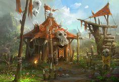 Orc's Home, Lee b on ArtStation at https://www.artstation.com/artwork/vbdex