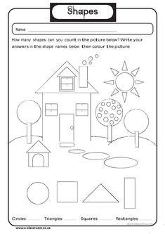Free Printable House Shapes Worksheet