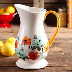 The Pioneer Woman Flea Market Decorated Floral 2-Quart Pitcher--- obsessed with this! so cute!