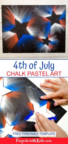 Create this bright and bold 4th of July chalk pastel art with only a few simple supplies! Kids of all ages will love using chalk pastels to make this super easy patriotic craft. #projectswithkids #4thofjulycrafts #chalkpastels #kidsart