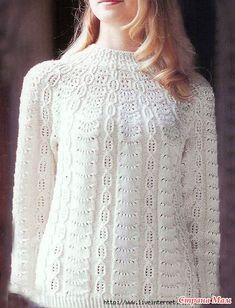 Very beautiful jumper with a round yoke - DIY, ideas fo creativity - DIY Ideas Sweater Knitting Patterns, Lace Knitting, Knitting Designs, Knit Patterns, Knit Crochet, Knit Cardigan Pattern, Crochet Clothes, Sweaters, Google