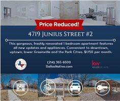 Check out this very updated condo for lease! Price reduced! #DallasRealEstate #ForLease