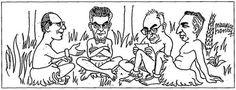 """Illustration de Maurice Henry pour l'article de François Châtelet dans La Quinzaine Littéraire (1er-15 juillet 1967), """"Où en est le structuralisme?"""" Les quatre mousquetaires : Lacan, Barthes, Foucault, Levi-Strauss."""