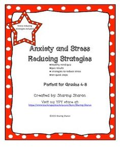 Anxiety and Stress Reducing Techniques created by Sharing Sharon. This package is designed to help students reduce and manage their stress. It can be used in any capacity you choose, but the purpose is to bring students through a self reflection about their own stress level, what it means and then to find strategies that will work for them to reduce their stress. This package is designed to help students become calmer, happier students and to learn to manage their own stress and anxiety.