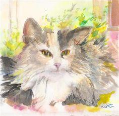 "Daily Paintworks - ""Fancy Cat"" - Original Fine Art for Sale - © jean krueger"