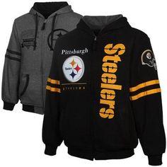 Mens Pittsburgh Steelers Dual Edge Reversible Full Zip Hoodie Black Charcoal 5b3045c1b