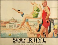 Septimus Edwin Scott - Original Vintage LMS Travel Poster Sunny Rhyl For Golden Sands and Sunshine Wales