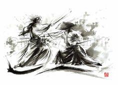 SAMURAI Warrior Fury Battle Japanese Kill Sword GICLEE fine art print of watercolor ink PAINTING
