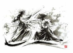 SAMURAI Warrior Fury Battle Japanese Kill Sword GICLEE fine art print of watercolor ink PAINTING