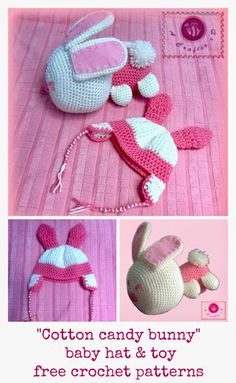 crochet bunny baby hat and toy