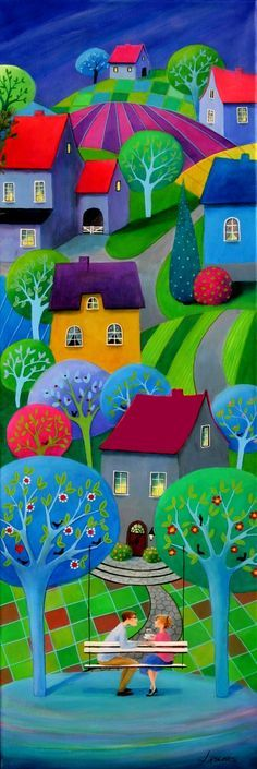 """Iwona Lifsches: """"Coffee With Love (2)"""". Painting from serie """"Frederik's Daily Issues"""" Acrylic on canvas, 40x120 cm."""
