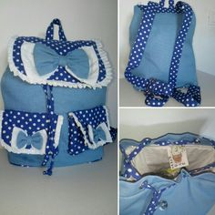 Polka dot blue toddler backpack