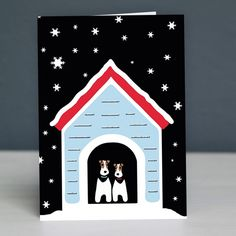Fox Terriers in Kennel Christmas Card by Forever Foxed.