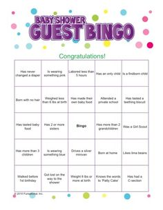 Baby Shower Guest Bingo