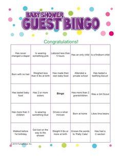 Baby Shower Guest Bingo