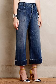 like the wide leg, length color, cuff detail.  probably not with heels.