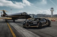 Bugatti Chiron Black, Gold, Aircraft, Supercar, Luxury, Private Jet Wallpaper