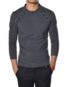 4c8b5e247d180e (VT07) Mens Casual Long Sleeve Button Point Round neck Tshirts