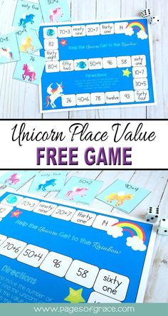 Free Unicorn Place Value Game for kids! A great hands-on way for first grade kids to work on place value! Math Activities For Kids, Math For Kids, Math Resources, Math Games, School Resources, Classroom Resources, Learning Games, Math Classroom, Kids Learning