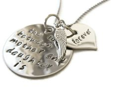 Mother & Daughters necklace with angel wing. Touching sympathy gift or reminder that love never ends.