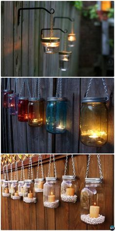 DIY Hanging Mason Jar Lights #Garden Fence #Decor Instructions-20 Fence Makeover Ideas