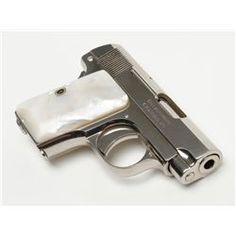 """Colt Model 1908 semi-auto pistol, .25 cal., 2"""" barrel, nickel finish, pearl grips, #385611 in fine"""
