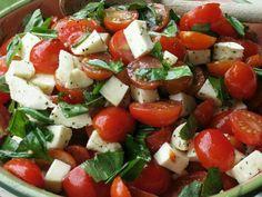 Tomatoes, basil, mozzeralla, vinegrette