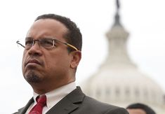 Rep. Keith Ellison, D-Minn., the deputy chair of the Democratic National Committee, caused a stir on social media Wednesday when he posed with a book promo