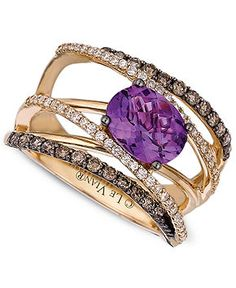 14k Gold Ring, Amethyst (1-1/2 ct. t.w.) and White and Chocolate Diamond (3/4 ct. t.w.) Gladiator Ring