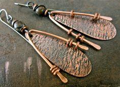 textured copper and jasper artisan dangle earrings by beatnheart, $52.00